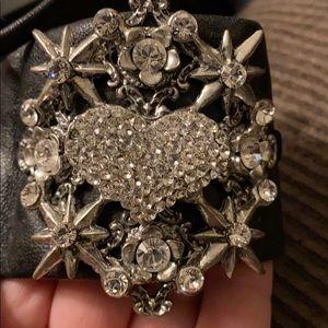 Otazu leather Swarovski crystal cuff bracelet